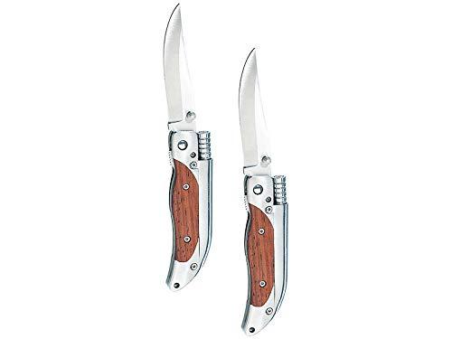 Semptec Urban Survival Technology Messer mit Feuerstein: 2er-Set Taschenmesser mit 8-cm-Klinge und Magnesium-Feuerstab (Taschenmesser mit Feuerstein)