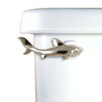 Functional Fine Art Bath Hardware Accessory Shark Shaped Side Mounted Toilet Flush Lever in Satin Pewter