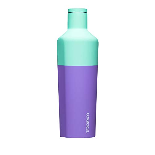 Corkcicle 25oz Canteen - Color Block Collection - Water Bottle & Thermos - Triple Insulated Shatterproof Stainless Steel, Color Block Mint Berry