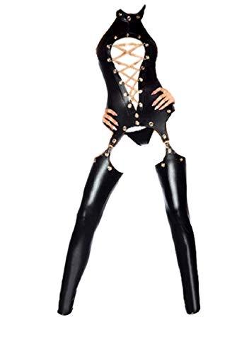 Top Totty Sexy Mujer Dominatrix Mono de cuero de vinilo con cadena