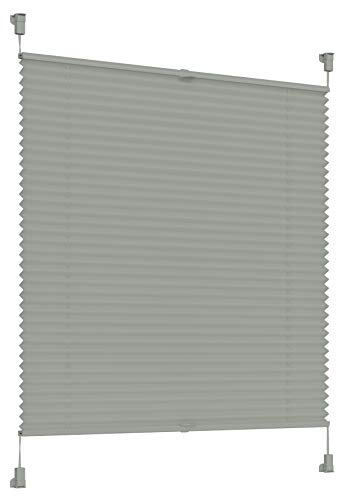 Sonello Plissee Klemmfix ohne Bohren 75cm x 100cm Grau Faltrollo Plisseerollo Jalousie für Tür & Fenster Blickdicht Sichtschutz Sonnenschutz Fertifplissee Rollo