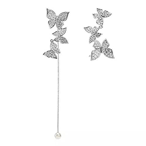 MNSYD Asymmetrical Fine Butterfly Earrings Contracted Long Tassel Sweet Pearl Shiny Crystal Trend Drop Earrings for women and Girls