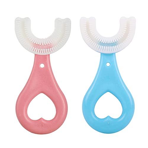 ZALUJMUS Brosse à dents en forme de U pour enfants - Poils en silicone - Massage des gencives - Nettoyage complet (pour enfants de 2 à 6 ans)
