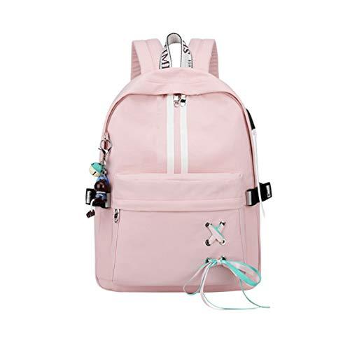 Kanitry Mode Diebstahl Reflektierende Frauen Rucksack USB Lade Kopfhörer Loch Schultaschen Mädchen Reise Laptop Bagpack Bookbags (4)