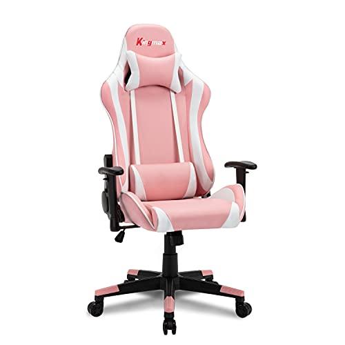 Silla para juegos con respaldo alto, ergonómica, ajustable, estilo de carreras, de piel sintética, reclinable, para juegos, silla de escritorio, con reposacabezas y soporte lumbar (rosa)