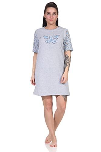 RELAX by Normann Damen Kurzarm Nachthemd mit Schmetterling als Motiv - 112 214 10 714, Farbe:blau, Größe:44-46