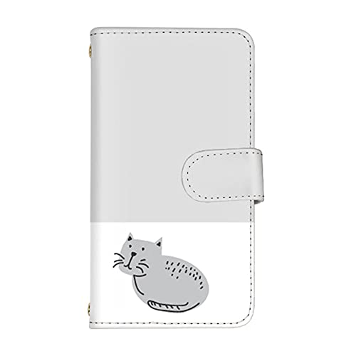 [スマ通] AQUOS EVER スマホケース SH-04G カード収納 ミラー 付き 手帳型 SHARP シャープ アクオス エバー 【C.グレー】 ワンポイント猫 バイカラー vd-0418