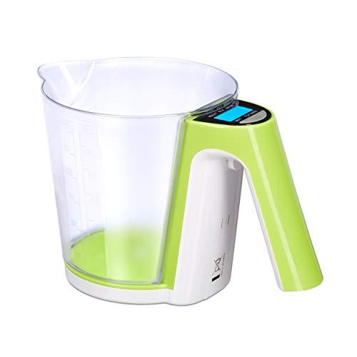 Relaxdays vaso medidor con báscula, jarra medidora extraíble, distintas unidades de peso, tara, verde y blanco, 2 kg.