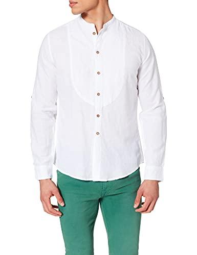 Springfield Linen Mao Chest Pintucks Camisa, Blanco, L para Hombre