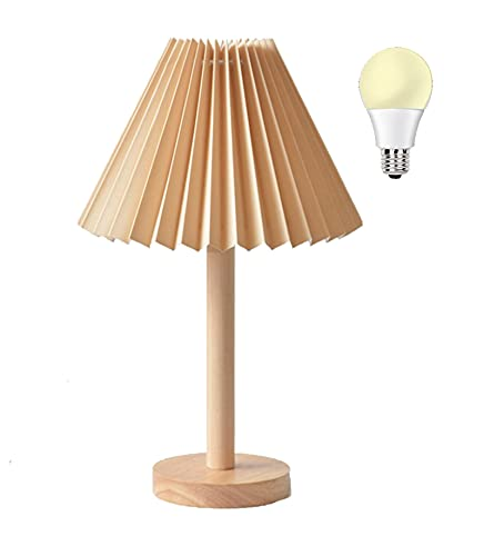 AFORTLO Table Desk Lamp,Boho Decorative Folding Cloth Shade Nightstand Night Light Solid Wood Base Japanese Style Lamp for Bedroom,Living Room,End Table or Office with Bulb (Brown)