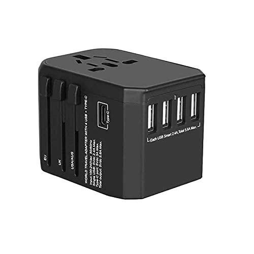 PURETech Adaptador de viaje de enchufe universal 5.6A con 4 puertos USB y 3.0A USB Type-C, cargador convertidor de red internacional Italia Suiza Irlanda Reino Unido Asia EE. UU. 180+ países(negro)