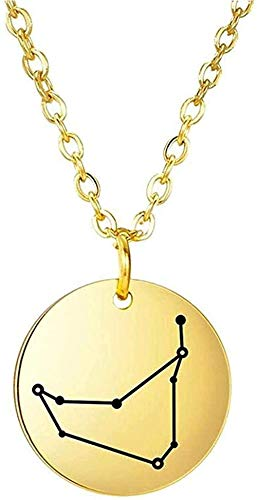 Collar del zodiaco de acero inoxidable mujeres niñas doce constelación Capricornio colgante collares 50 cm