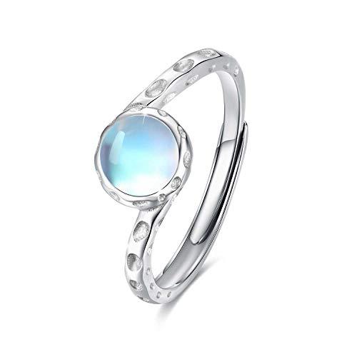 Ring Damen Mondstein 925 Sterling Silber Synthetischer Regenbogen Mondstein für Damen ring Offen Verstellbare Ringe für Mama Freundin