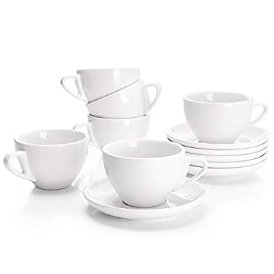Sweese 403.001 Porcelain Cappuccino Cups with Saucers - 6 Ounce for Specialty Coffee Drinks, Latte, Cafe Mocha and Tea - Set of 6, White