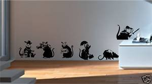 Online Design Estilo Banksy Ratas X 6 Pegatinas de Vinilo Decorativas Grafiti - Marrón