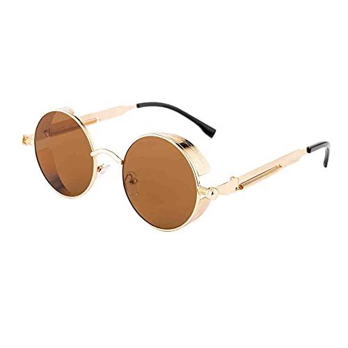 SM SunniMix Gafas de sol de círculo Steampunk Retro góticas de moda para mujeres y hombres montura de Metal de lente redonda, protección UV - Gold Tea