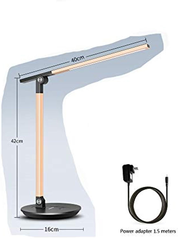LED-Tischlampe Schreibtisch-Augenschutz-Leselampe Plug-in-Schreibtischlampe 5 Dateien Dimmen 3 Dateien Farb-Touch-Schalter Drehen,Gold