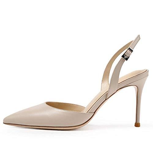 Luta Damen Spitz D'Orsay Stiletto Slingback Sandalen Elegant Pumps mit mittlerem Absatz Für Abend Party Hochzeit Beige Größe 38