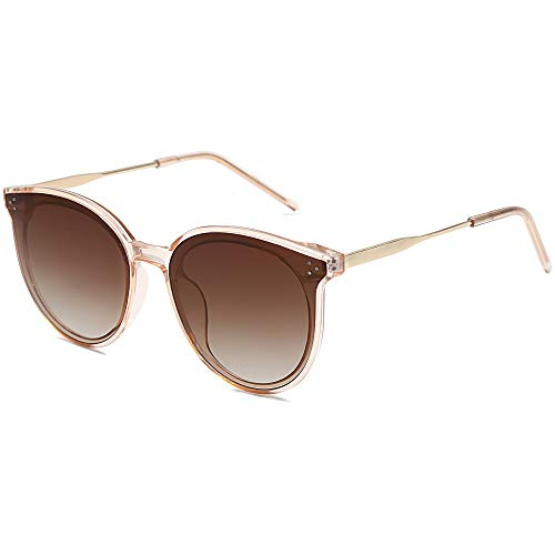 SOJOS Fashion Round Sunglasses for Women with Rivet Plastic Frame DOLPHIN SJ2068 with Crystal Brown...