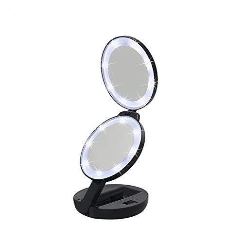 ZDAMN Miroir de toilette compact grossissant miroir de poche miroir de maquillage double face avec grossissement 5 x pour anniversaire, mariage, éclairage portable, ABS, Noir , 13 cm
