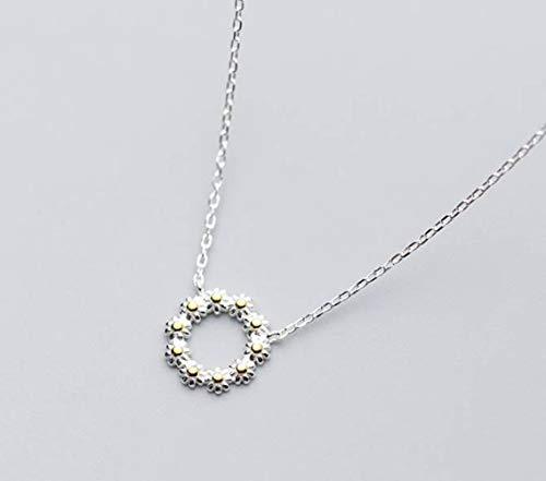 TYERY Collar de Plata S925, Temperamento Femenino Lindo Collar de Guirnalda de Margaritas, Cadena de Clavícula...
