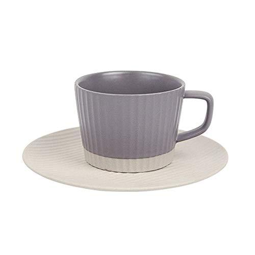 SXXYTCWL Conjunto de taza de café Copa de cerámica escarchada Taza de copa y platillo Taza de té de la taza de té de la oficina de taza de taza de té adecuado para microondas Esterilizador de lavavaji