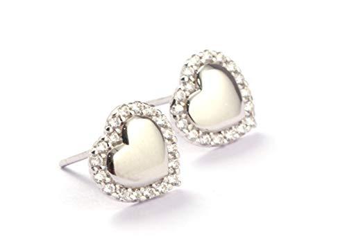 Pendientes para mujer con forma de corazón con superficie de espejo en plata de ley 925, rodeados con piedras de cristal altamente pulidas.