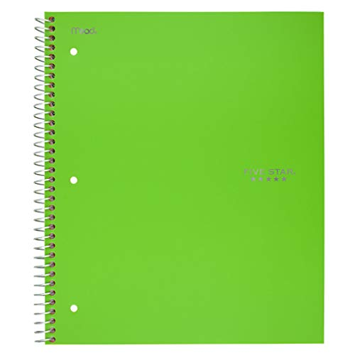 "Five Star Spiral Notebook, 5 Subject, Wide Ruled Paper, 200 Sheets, 10-1/2"" x 8"", Lime (73204)"