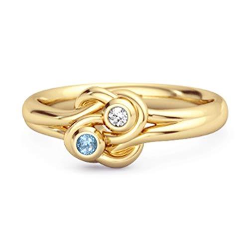 Shine Jewel Elección múltiple Su Anillo de Nudo de Amor Chapado en Oro Amarillo de Piedras Preciosas 0.02 Ctw Anillo de Plata esterlina 925 (8, topacio Azul Suizo)