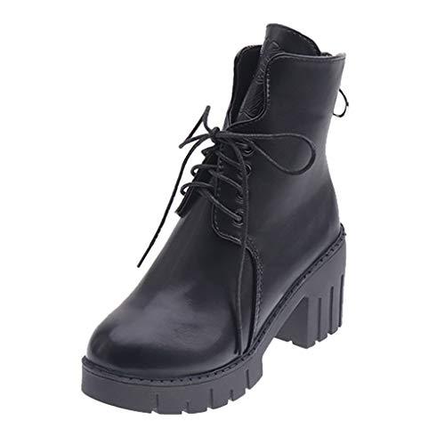 CANDLLY Stiefel Damen, Einfarbig Runder Zeh Schnürsenkel Stiefeletten Damen Schuhe Quadratische...