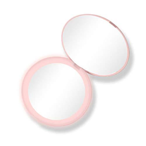 Rtengtunn LED beleuchtete Mini kreisförmige Make-up Kosmetikspiegel Faltbare 10X Vergrößerungsrunde Beleuchtung Spiegel kompakte Reise