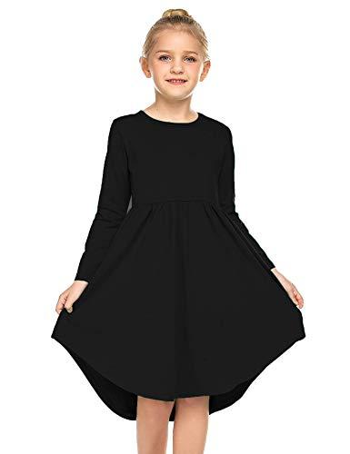 Parabler Mädchen Kleid mädchen Kleider festlich Kinder Langarm Kleid Herbstkleid A Linie Retro Gedruckt Skaterkleid O-Ausschnitt Schwarz Gr.130