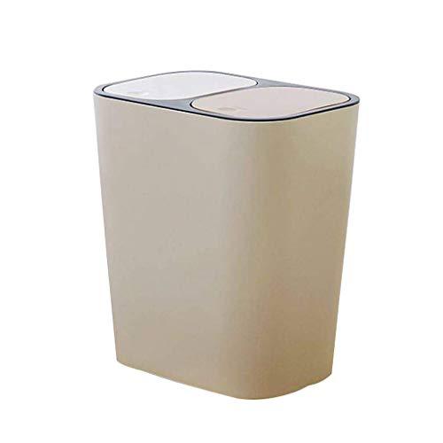 Poubelle- La double poubelle de couverture peut être classée, récipient à ordures rectangulaire pour les ordures de ménage de salon de cuisine (Color : Beige)