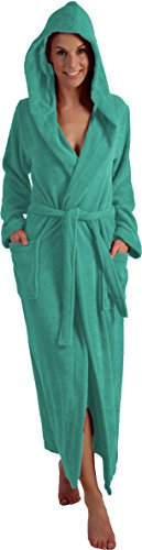 Naturawalk Lange oder extra Lange Damen und Herren Bademäntel aus 100% Bio Baumwolle mit Kapuze in 5 Farben, S bis XXXXL Farbe Turkis 125 cm, Grösse L