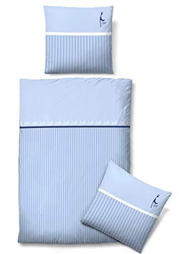 biberna 0635981 Mako-Satin Bettwäsche Garnitur mit Kopfkissenbezug (Baumwolle) 1x 135x200 cm + 1x 80x80 cm, blau