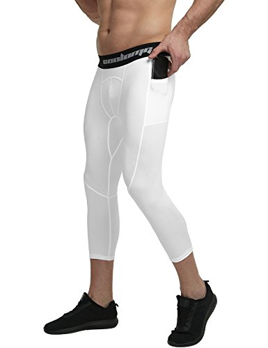 COOLOMG Youth Compression Pants Boys Girls Base Layer Sport Tights Basketball Running Workout Training Leggings with Side Pockets White S