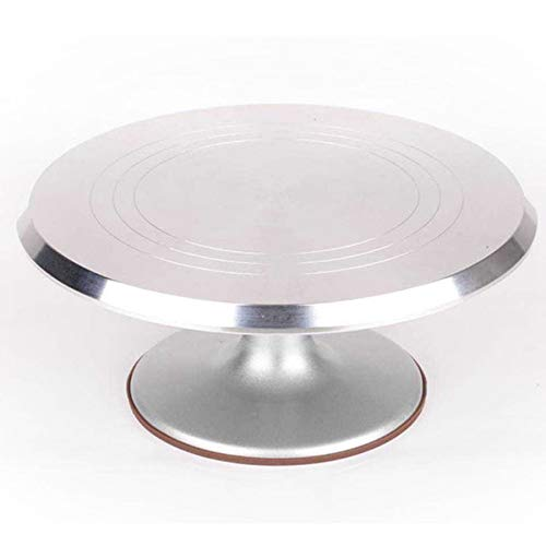 Roterend taartplateau roestvrij staal taartplaat met siliconen onderkant