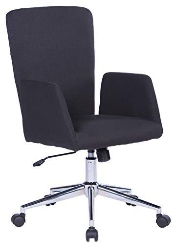 SixBros. Bürostuhl, Schreibtischstuhl mit Armlehne, Drehstuhl für's Büro oder Home-Office, stufenlos höhenverstellbar & leichtläufig, hohe Rückenlehne, Sitzbezug aus Stoff, schwarz W-173A-1/8185