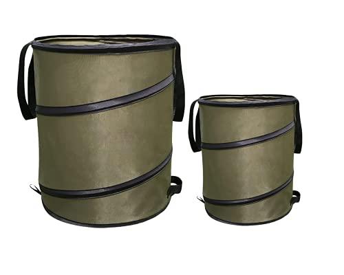 Yomiro 2er Set faltbar gartenabfallsack, gartensack aus robustem Wasserdichtes PP Material, Selbstaufstellend laubsack, laubsammler big bag, schnellkomposter laubsäcke 98L+38L (Gartenabfallsack, Grün)