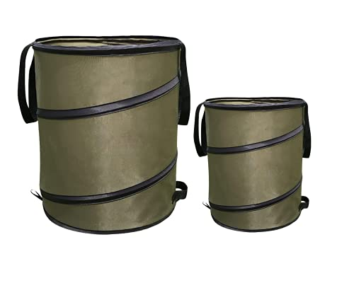 Yomiro Juego de 2 bolsas de basura plegables para jardín, de material de polipropileno resistente e impermeable, se sostienen de pie, para guardar los residuos de jardín, 98L + 38L