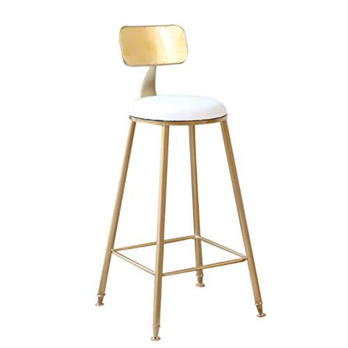 Barkruk Nordic Golden Bar stoel met leuning hoge stoel Café Modern bar lounge stoel voor keuken bar Tresen Stool White Leather 45cm