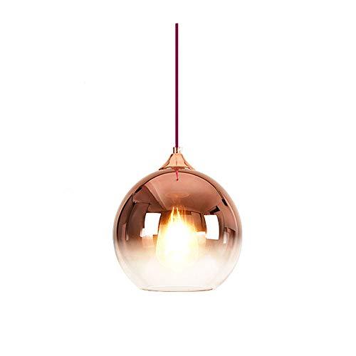 Iluminación colgante Vidrio Lámpara colgante Decoración Lámpara Redonda E27 Lámpara de suspensión Pantalla Comedor Lámpara de salón Lámpara de mesa Altura regulable Lámpara colgante oro rosa Ø20 cm