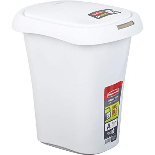 Rubbermaid 21 Qt White Wastebasket with Lid - 1 Each