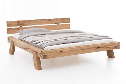 Woodlive Balkenbett - Massivholzbett - Premium Bett aus Holz - Stabiles und langlebiges Holzbett - Massivholz Bett Kernbuche Massiv (140 x 200 cm)