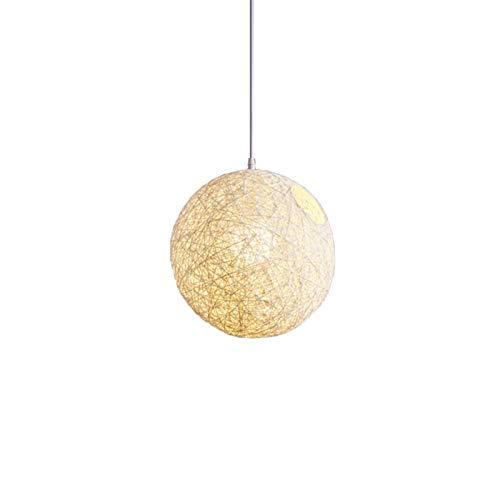 JSJJAYH Araña de Techo Blanco de bambú, ratán y el cáñamo de la Bola de la lámpara Individual Creatividad esférico Rattan Nido Pantalla luz (Body Color : White)