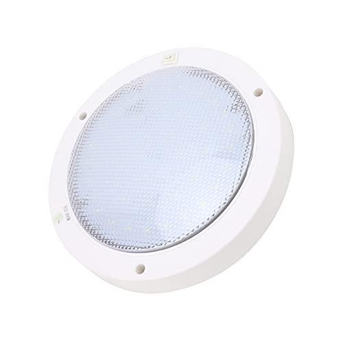Panel de luz LED, panel de luz LED redondo de bajo consumo de energía, 8,6 x 6,7 pulgadas, 12 V, 300 lm, blanco con hebilla de rosca para autocaravanas, yates, barcos, etc.(Zhengbai)