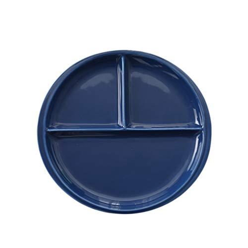 Cabilock Placa dietética dividida para pérdida de peso, placas de cerámica redondas para un fácil control de las porciones. Bonito diseño con ideas alimentarias para una pérdida de peso sosten