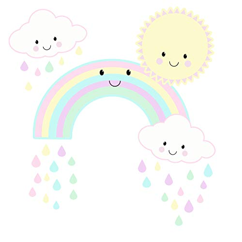 Wall Decals for Girls Cute Kawaii Baby Nursery Wall Decals Decor Smiley Rainbow Sun Clouds Kids Room Pastel Pink Girls Wall Stickers, Vinyl Art for Bedroom, Peel n' Stick Children's Decoration, Toddler Playroom 11' x 14'