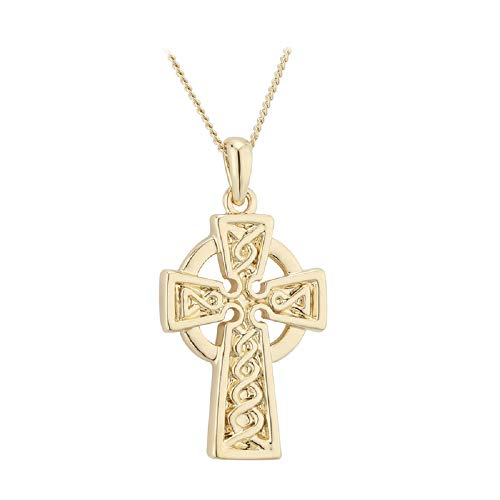 "Tara Celtic Cross Necklace Engraved Weaving Gold Plating 18"" Chain Irish Made Jewelry"