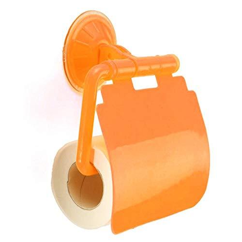 Treimboover portarrollos baño Montado en la Pared de plástico Ventosa Cuarto de baño WC Rollo de Papel Soporte con Cuarto de baño Accessories-Verde Soporte para Papel higiénico (Color : Orange)